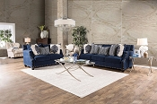 2 Pcs Contemporary Blue Sofa Set