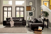 2 Pcs Silver Contemporary Sofa Set