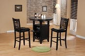3 piece Dark Walnut Counter Height Dining Set