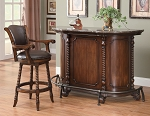 Traditional Walnut Brown Finish Bar Unit