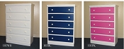 5 Drawer Chest - White, Blue, or Pink