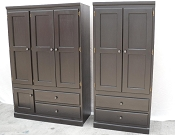 2 Pcs Large Espresso Finish Wardrobe