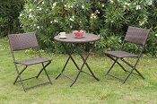 3 Pcs Foldable Chair Bistro Set