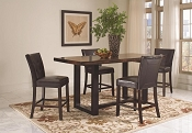5 Pcs Brown/Black Counter Height Style Dining