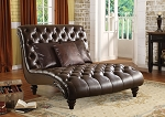 Brown Leather Elegant Lounge Chair with Pillows