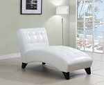 White Faux Leather Lounge Chaise