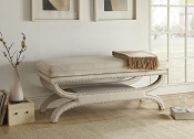 White Linen Elegant Bench
