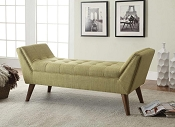 Green Linen Retro Bench