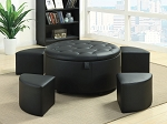 5 Piece Black Faux Leather Ottoman Set
