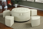 5 Piece White Faux Leather Ottoman Set