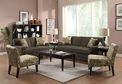 2 Piece Chocolate Fabric Sofa Set