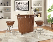 3 Piece Brown Modern Bar Set