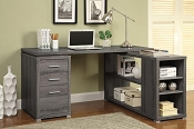 L - Shaped Grey Finish Desk