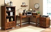 Brown Curved Desk