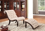 2 Piece Beige Chair and Ottoman with Cherry Wood Finish
