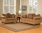 2 Piece Light Tan with Accent Back Rest Pillows