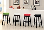 Green, White, Red, and Black Swivel Barstools