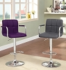 Purple or Gray Swivel Barstool with Padded Armrests