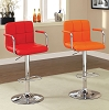 Red or Orange Swivel Barstool with Padded Armrests