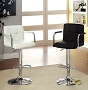 White or Black Swivel Barstool with Padded Armrests