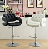 Black or White Swivel Barstool with Padded Armrests
