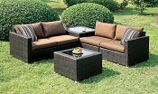 4 Pcs Brown Patio Sofa Set