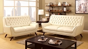 2 Pcs White Button Tufted Sofa Set