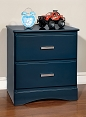 Blue Solid Wood Nightstand