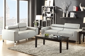 2 Piece White Modern Sofa Set