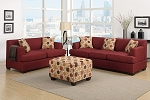 2 Piece Red Sofa, Love seat and Ottoman