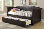 Twin Trundle Leather Day Bed with Mattresses-white or espresso