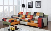 Multi Color Leatherette Sectional
