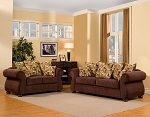 2 Piece Solid Brown Sofas with Golden Circles Pattern