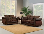 2 Piece Brown Traditional Sofa Set