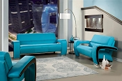 2 Pcs Enez Blue Sofa Set