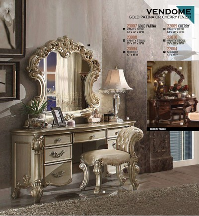 Vendome Vanity Desk- Gold Patina or  Cherry