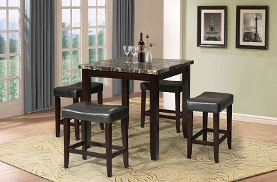 5 Piece Faux Marble Top Counter Height Table Set