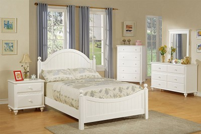 white solid wood bed frame