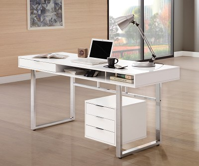 Contemporary Desk with Smooth White Finish