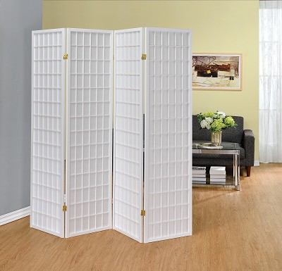 4 Panel white Finish Wood Room Divider