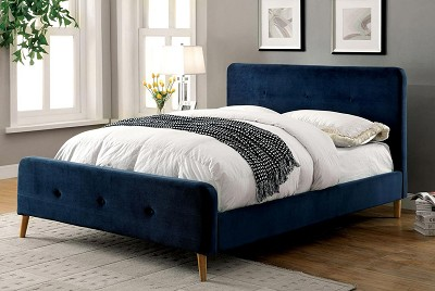 contemporary navy blue fabric bed frame