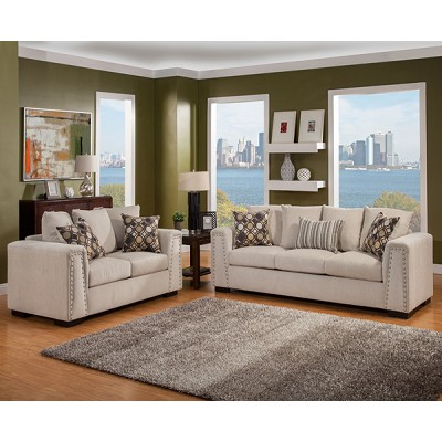 2 Pcs Sofas Set with Nail Heads