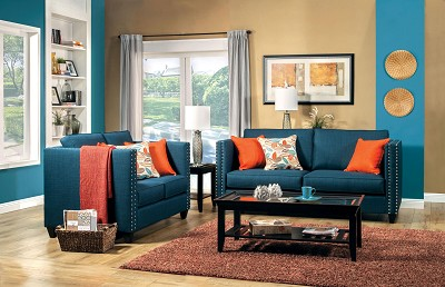 turquoise blue sofa - Blue Living Room Set