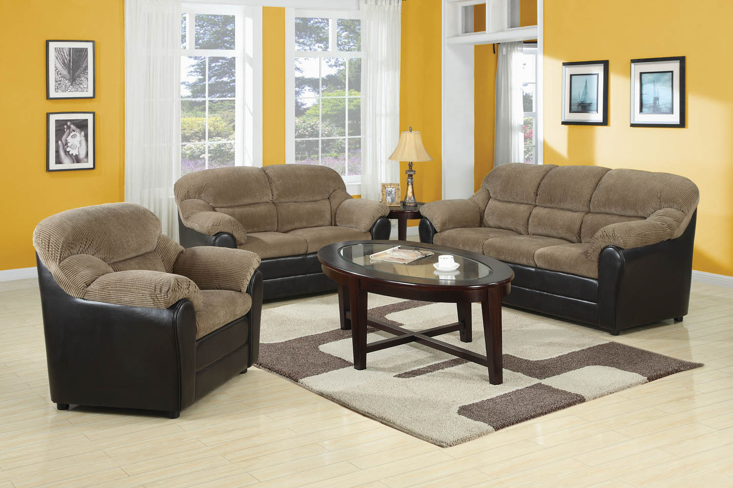 3 piece sofa set 3 Piece Brown Corduroy Espresso Pub Sofa Set 3 piece sofa set