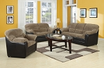 3 Piece Brown Corduroy Espresso Pub Sofa Set
