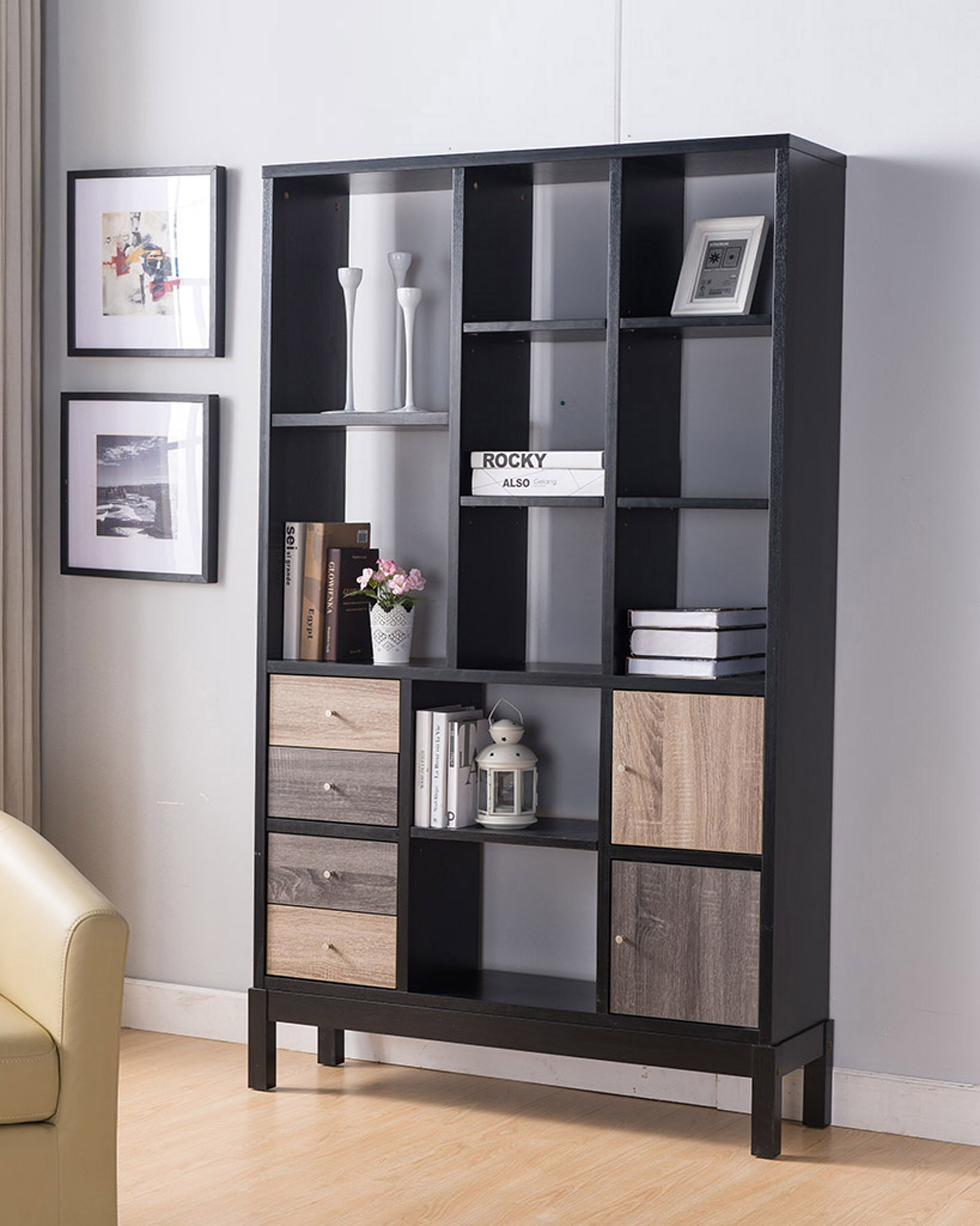 Black Dark Taupe And Distressed Grey Book Shelf