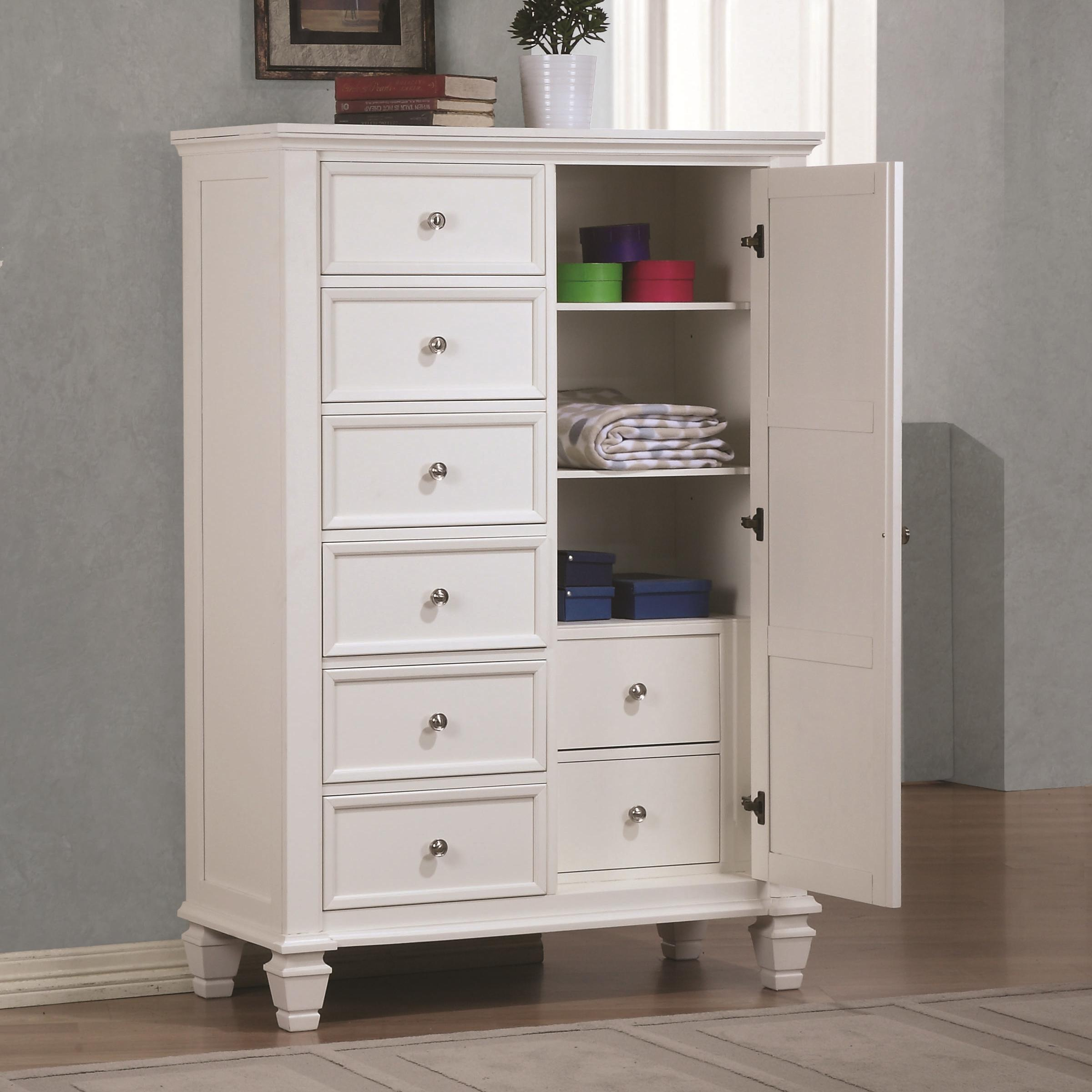 White Classic Door Dresser with Concealed Storage