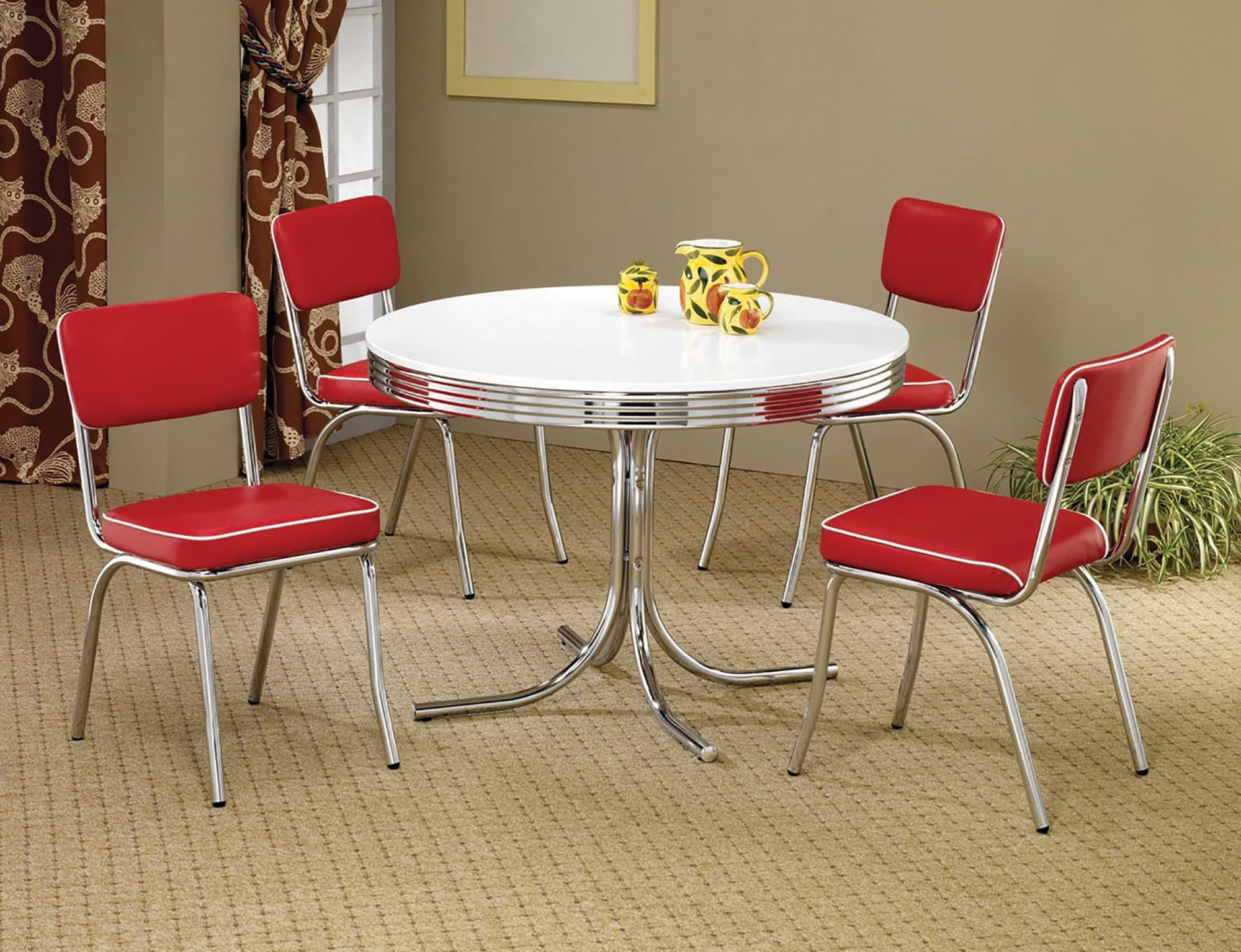 Retro Round Dining Table Set