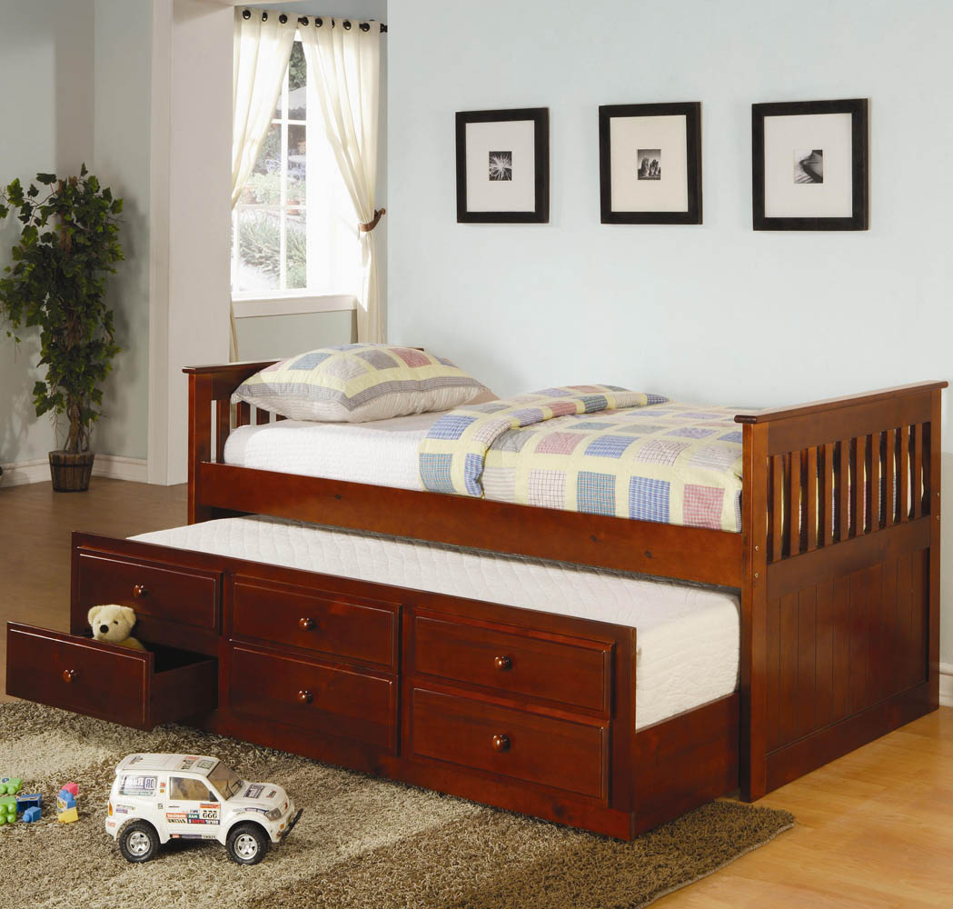 Solid Wood Captain S Bed With Trundle And Storage Drawers