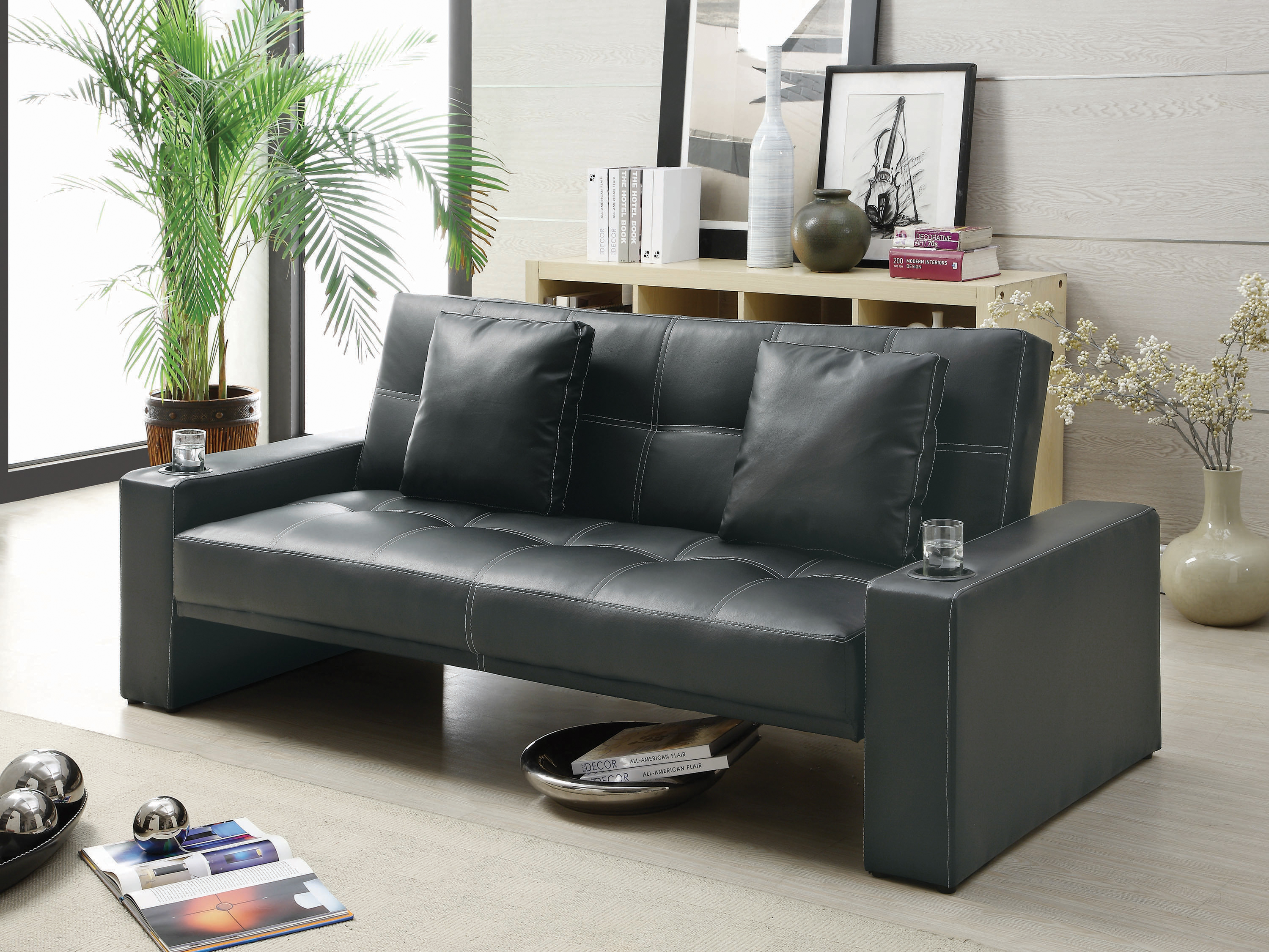 Modern PU Leather Sofa Bed Futon Durable With Cup Holders And Pillows Black